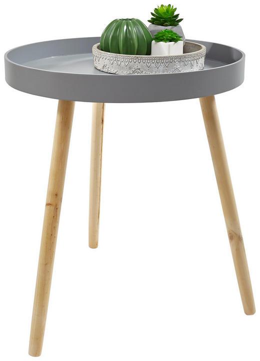 BEISTELLTISCH Fichte, Kiefer, Paulownia rund Grau, Kieferfarben - Kieferfarben/Grau, Basics, Holz (50/59cm)