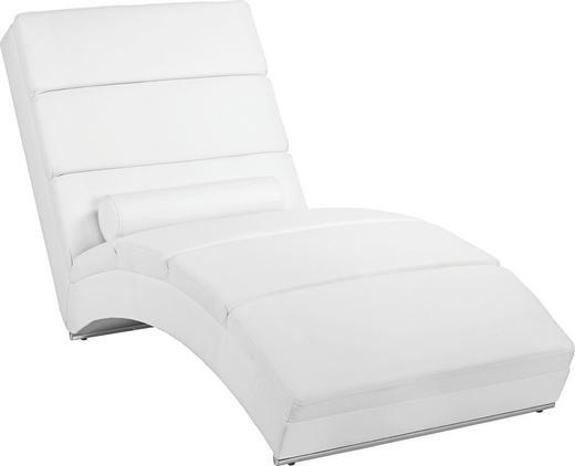 RELAXLIEGE Lederlook Weiß - Chromfarben/Weiß, Design, Kunststoff/Textil (75/85/175cm) - Carryhome
