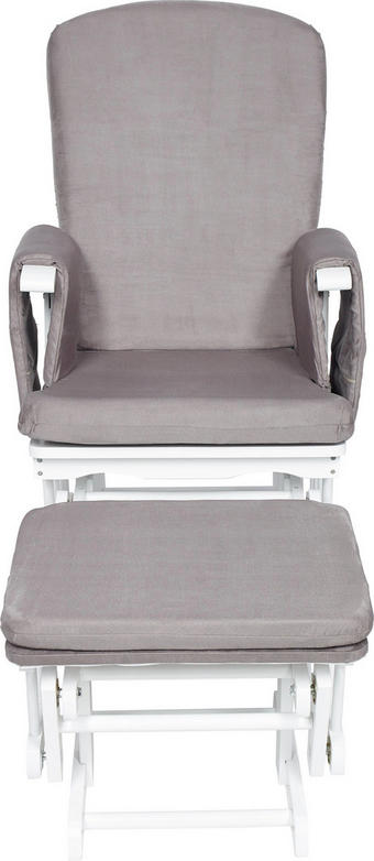 Stillstuhl - Weiß/Grau, Lifestyle, Holz/Textil (73/56/101cm) - My Baby Lou