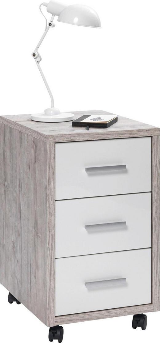 ROLLCONTAINER Eichefarben, Weiß - Eichefarben/Alufarben, Design, Kunststoff (35/59/42cm) - Carryhome