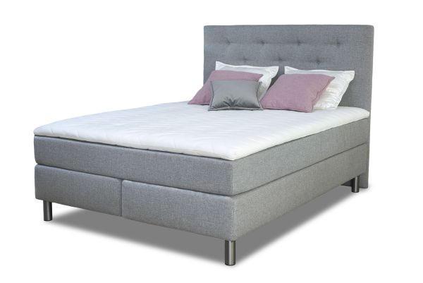 KONTINENTALSÄNG - grå, Klassisk, trä/textil (160/200cm) - Elegando