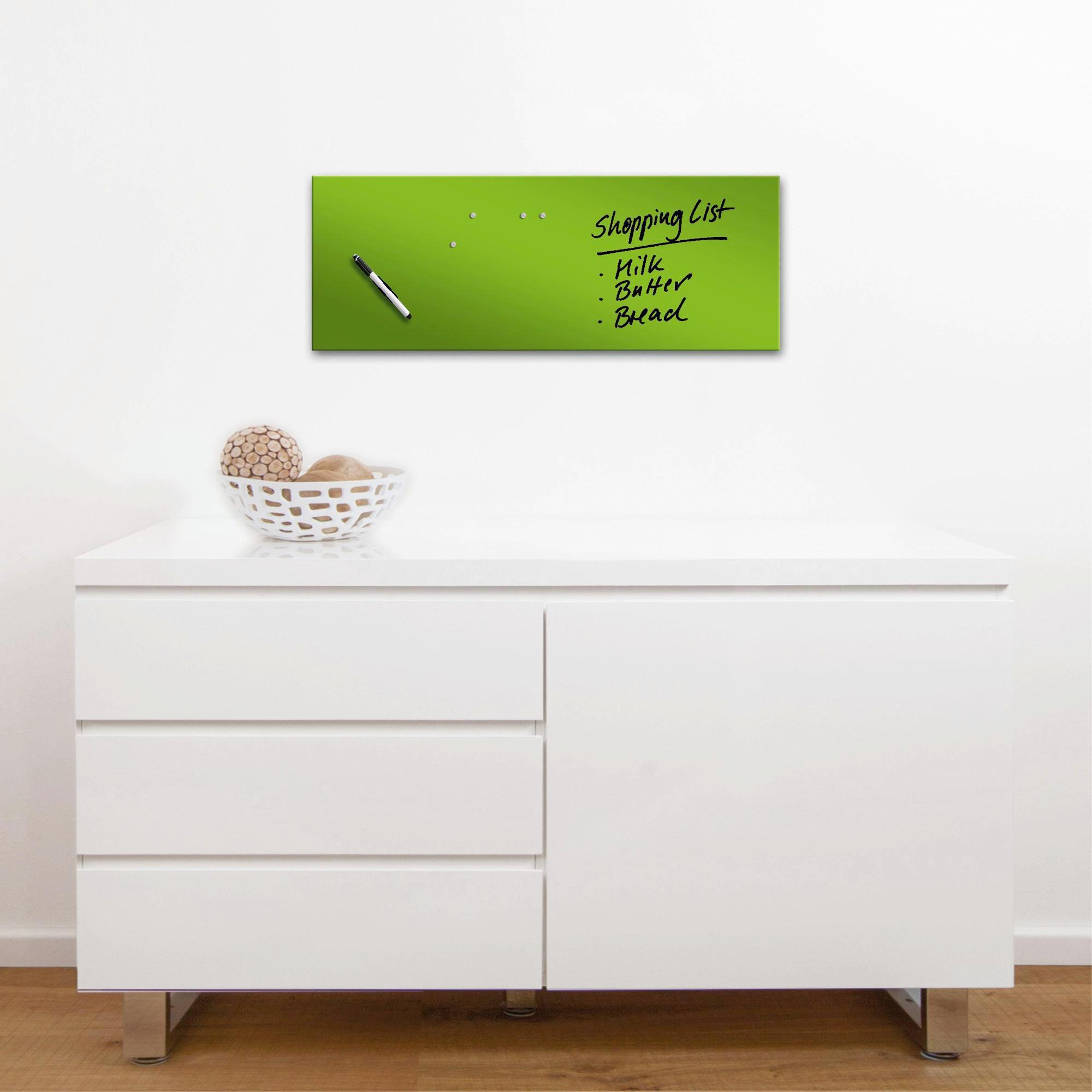 MEMOBOARD - grön, Basics, metall/glas (30/80cm) - EUROGRAPHICS