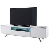 MEDIABÄNK - vit/rostfritt stål-färgad, Modern, metall/glas (183/46/42cm)