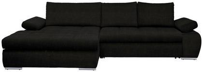 WOHNLANDSCHAFT in Textil Schwarz  - Chromfarben/Schwarz, Design, Kunststoff/Textil (173/294cm) - Carryhome
