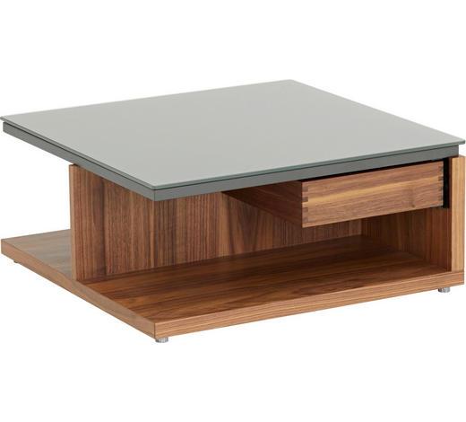 COUCHTISCH in Holz, Glas 70/70/30,9 cm - Nussbaumfarben/Grau, Design, Glas/Holz (70/70/30,9cm) - Now by Hülsta