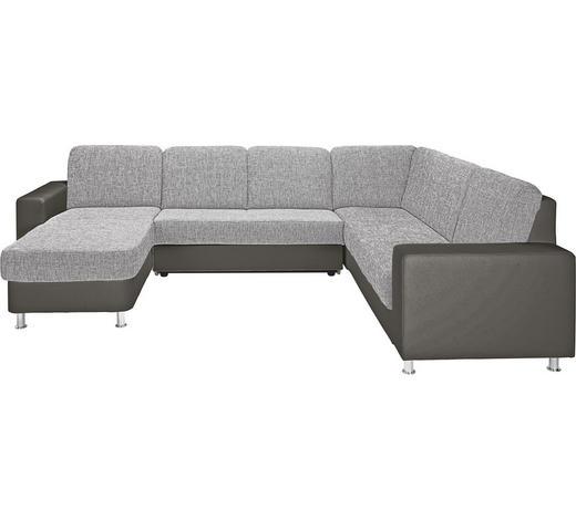 WOHNLANDSCHAFT Grau Lederlook, Webstoff  - Alufarben/Grau, KONVENTIONELL, Textil/Metall (167/303/229cm) - Xora