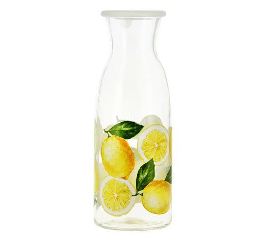 KARAFFE 1 l - Klar/Gelb, Trend, Glas/Kunststoff (7,6/13,3cm)