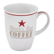 HRNEK NA KÁVU - bílá/červená, Lifestyle, keramika (0,32l) - Homeware
