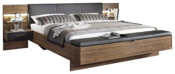 BETTANLAGE in Anthrazit, Eichefarben  - Eichefarben/Anthrazit, Design, Holzwerkstoff (180/200cm) - Carryhome