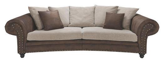 MEGA POHOVKA, béžová, hnědá, textil - hnědá/béžová, Lifestyle, dřevo/textil (276/81/140cm) - LANDSCAPE