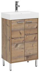 WASCHTISCHKOMBI 50/86,5/36 cm - Fichtefarben/Chromfarben, Design, Holzwerkstoff/Stein (50/86,5/36cm) - Stylife
