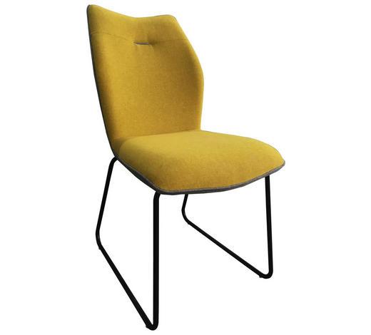ŽIDLE, žlutá, šedá - šedá/černá, Design, kov/textil (47,5/91/63,5cm) - Novel