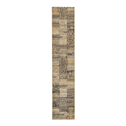 HOCHFLORTEPPICH  67/330 cm  gewebt  Beige, Dunkelgrün - Dunkelgrün/Beige, Textil (67/330cm)