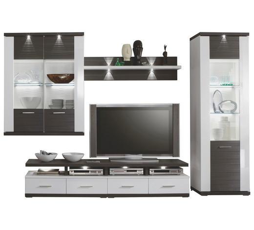 WOHNWAND Graphitfarben, Weiß  - Graphitfarben/Schwarz, Design, Glas/Kunststoff (312,7/206,6/50cm) - Xora