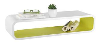 REGÁL NÁSTĚNNÝ - bílá/zelená, Design, dřevěný materiál (80/17/25cm) - XORA