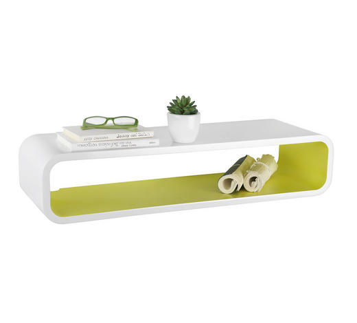 WANDREGAL - Weiß/Grün, Design, Holzwerkstoff (80/17/25cm) - Xora
