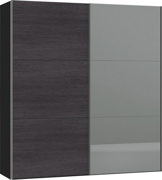 SCHWEBETÜRENSCHRANK 2-türig Anthrazit, Schwarz - Anthrazit/Silberfarben, Design, Glas/Holzwerkstoff (202,5/220/65cm) - Jutzler