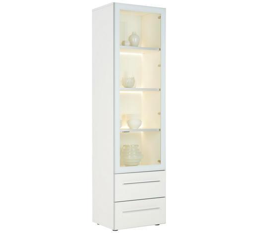VITRINE  in Weiß, Chromfarben - Chromfarben/Weiß, Design, Glas/Holzwerkstoff (56/202/43cm) - Joop!