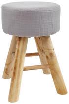 HOCKER Linon Hartholz Braun, Grau - Braun/Grau, Holz/Textil (28/40cm)