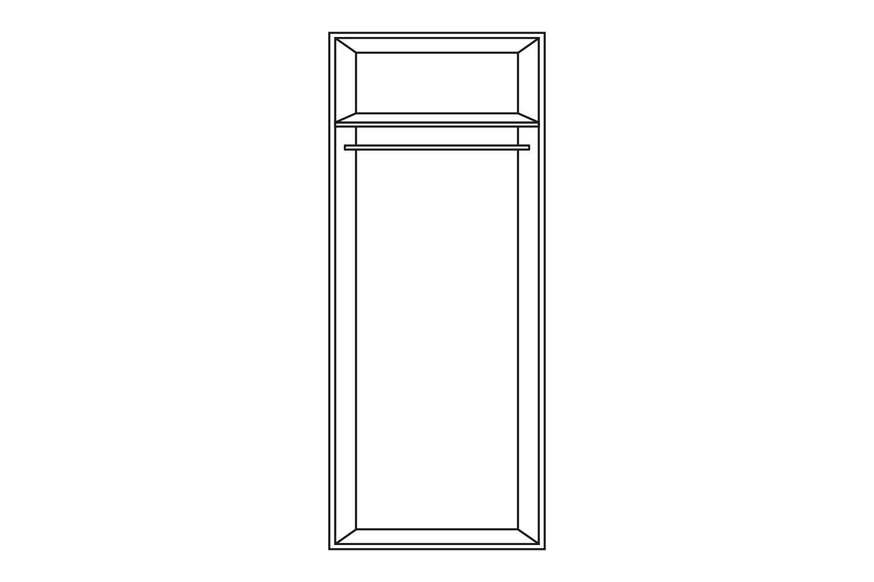 KLEIDERSCHRANK in Grau, Weiß - Chromfarben/Weiß, Design, Holzwerkstoff/Metall (30/208/57cm) - WELNOVA