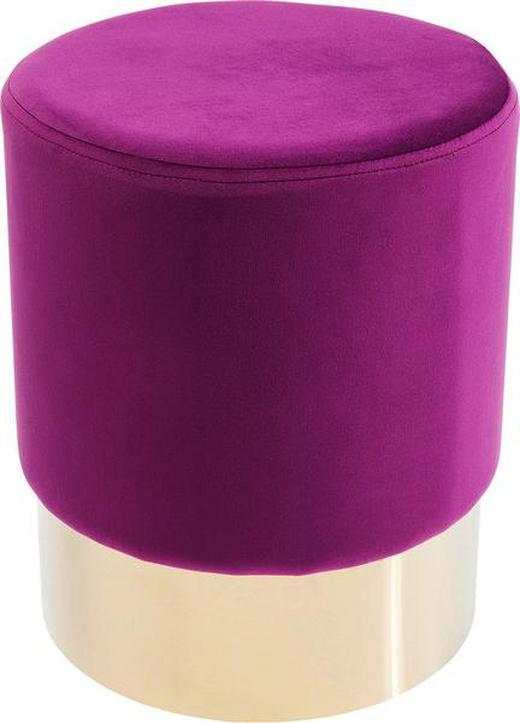 HOCKER Samt Lila - Lila/Goldfarben, Trend, Textil/Metall (35/42/35cm) - Kare-Design