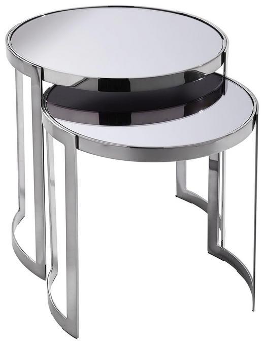SATZTISCH rund Schwarz - Schwarz, Design, Glas/Metall (45,7/40,6/45,7/40,6cm) - Xora