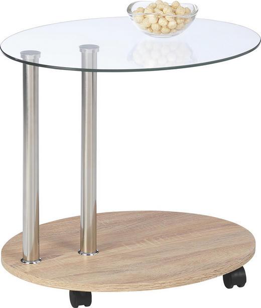 BEISTELLTISCH oval Klar, Sonoma Eiche - Klar/Sonoma Eiche, Design, Glas/Kunststoff (52/45/42cm)