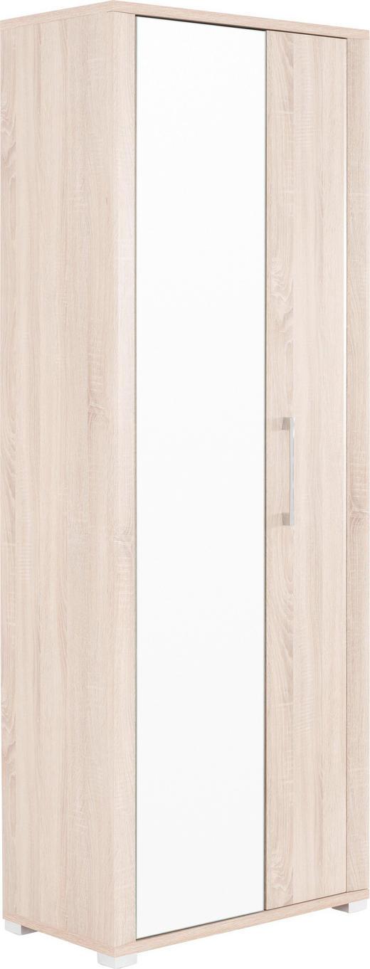 GARDEROBENSCHRANK Sonoma Eiche - Silberfarben/Sonoma Eiche, Basics, Glas/Holzwerkstoff (74/200/40cm) - Cantus