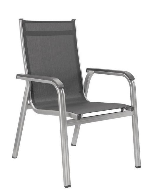 STAPELSESSEL - Anthrazit/Silberfarben, Design, Textil/Metall (66/98/69cm) - Kettler HKS