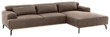 WOHNLANDSCHAFT in Textil Braun  - Schwarz/Braun, MODERN, Textil/Metall (285/174cm) - Carryhome