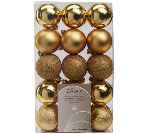 SADA VÁNOČNÍCH KOULÍ - barvy zlata, Basics, umělá hmota (6cm)