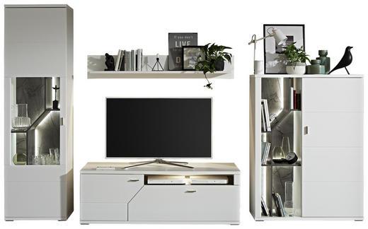WOHNWAND in Grau, Weiß - Weiß/Grau, MODERN, Glas/Holzwerkstoff (335,3/208,6/50cm) - Stylife