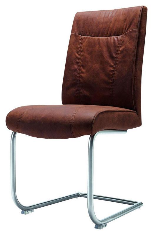 SCHWINGSTUHL Mikrofaser Braun - Edelstahlfarben/Braun, Design, Textil/Metall (46/99/63cm) - Set one by Musterrin