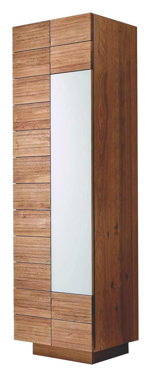 GARDEROBENSCHRANK Wildeiche massiv geölt Eichefarben - Eichefarben, Design, Glas/Holz (64/202/42,5cm) - Voglauer