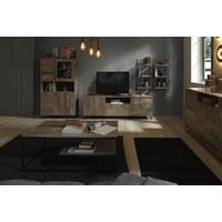 KOMODA SIDEBOARD - antracitová/hnědá, Design, kov/kompozitní dřevo (168/85/37cm) - Ti`me