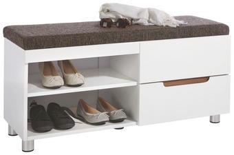 GARDEROBENBANK Linon Braun, Nussbaumfarben, Weiß - Nussbaumfarben/Braun, Design, Holzwerkstoff/Textil (100/43,4/36,5cm) - XORA