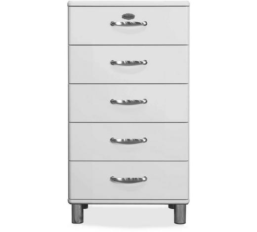 KOMMODE lackiert, Melamin Weiß - Weiß/Nickelfarben, Design, Metall (60/111/41cm) - Carryhome