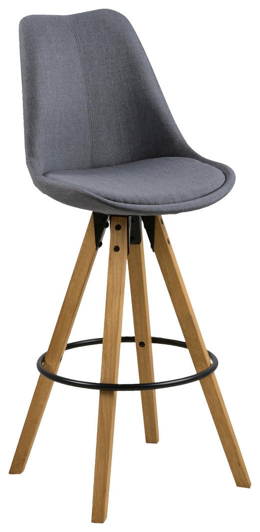 BARHOCKER Flachgewebe Dunkelgrau - Dunkelgrau/Eichefarben, Design, Holz/Textil (48/112/56cm) - Carryhome