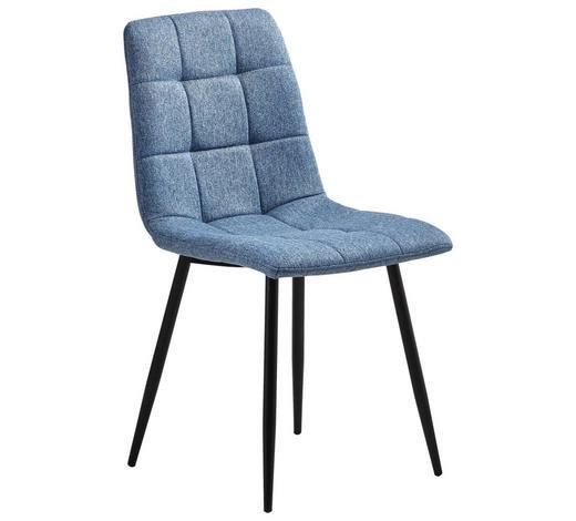 STUHL Webstoff Blau  - Blau/Schwarz, LIFESTYLE, Textil/Metall (47/87/59cm) - Carryhome