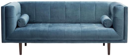 POHOVKA, modrá, textil - tmavě hnědá/modrá, Design, textil/dřevěný materiál (200/80/87cm) - Carryhome