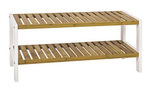 REGAL Bambus massiv Naturfarben, Weiß - Naturfarben/Weiß, Design, Holz/Holzwerkstoff (70/33/26cm)