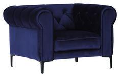 SESSEL in Textil Blau  - Blau/Schwarz, Trend, Textil/Metall (105/75/90cm) - Carryhome