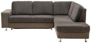 WOHNLANDSCHAFT in Textil Braun, Grau  - Chromfarben/Braun, KONVENTIONELL, Kunststoff/Textil (253/198cm) - Xora