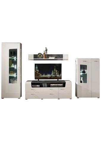 WOHNWAND in Grau, Weiß  - Chromfarben/Weiß, MODERN, Glas/Holzwerkstoff (335/199/52cm) - Xora