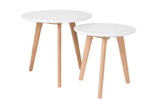 BEISTELLTISCHSET rund Weiß - Weiß, LIFESTYLE, Holz