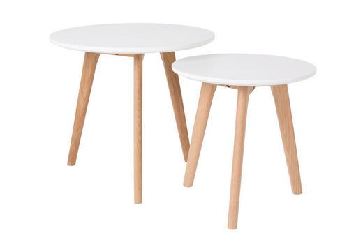 BEISTELLTISCHSET rund Weiß - Weiß, ROMANTIK / LANDHAUS, Holz