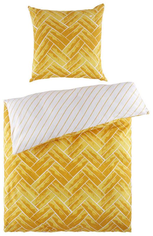 BETTWÄSCHE Satin Gelb, Weiß 155/220 cm - Gelb/Weiß, Design, Textil (155/220cm) - Tom Tailor