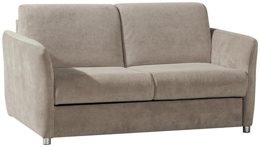 SCHLAFSOFA Taupe - Taupe/Chromfarben, KONVENTIONELL, Textil/Metall (142/88/99cm) - Carryhome