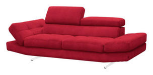 DREISITZER-SOFA Rot  - Chromfarben/Rot, Design, Textil (230/93/106cm) - Novel
