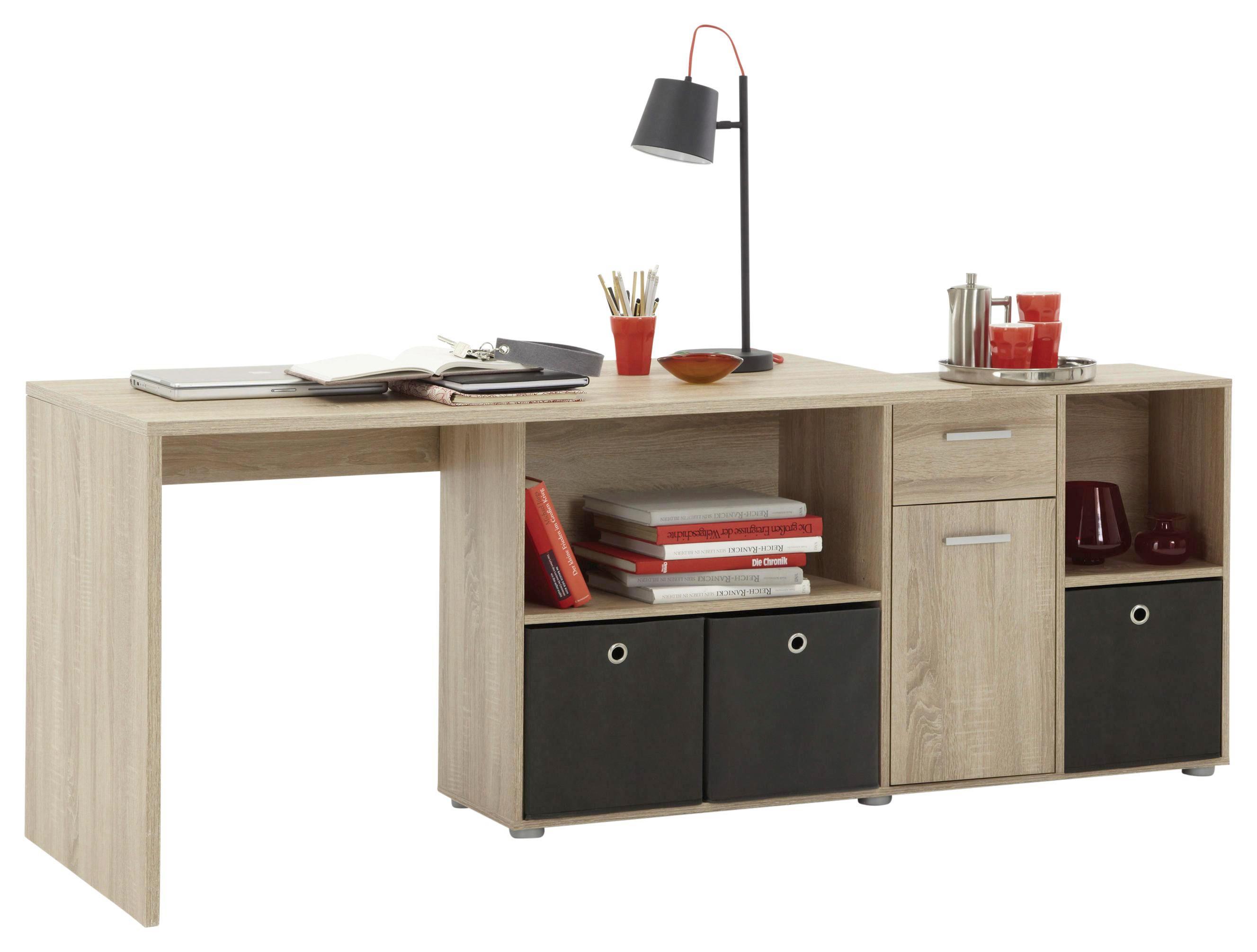 ECKSCHREIBTISCH Eichefarben - Chromfarben/Eichefarben, Design, Kunststoff (137/75/68cm) - CANTUS